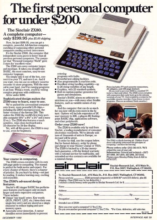 1st personal computer 1980
