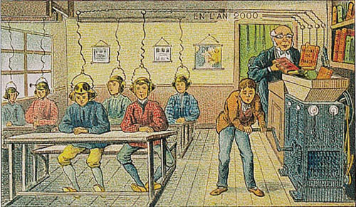 1910 cartoon showing information being processed into students' heads via an apparatus that looks like a wood-chipper