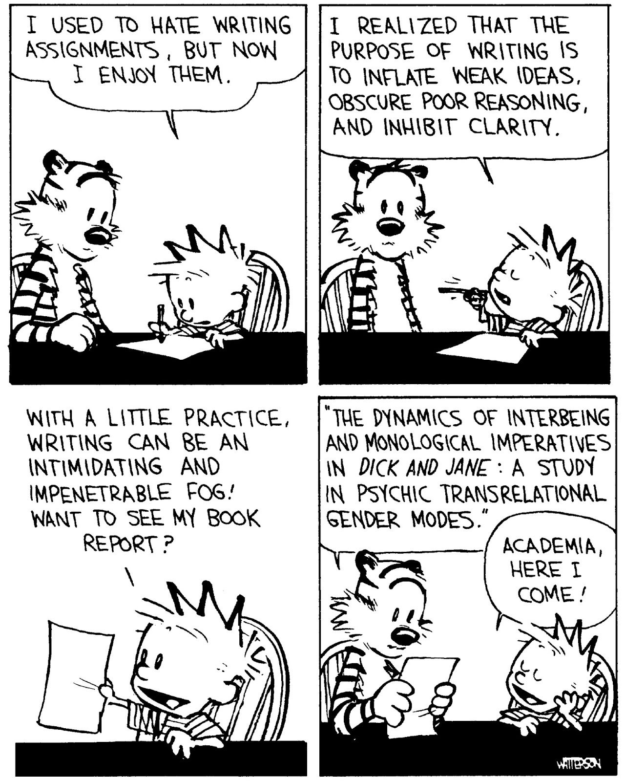 cartoons on reading and writing larry n on school reform and calvin and hobbes on writing writing 25906604 2000