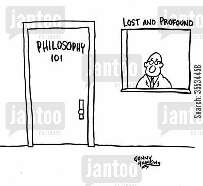 Philosophy class door is next to window: 'Lost and Profound'