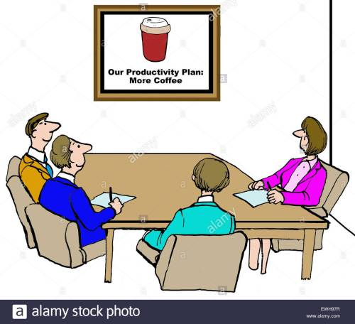 business-cartoon-of-meeting-and-chart-that-reads-our-productivity-EWH97R.jpg